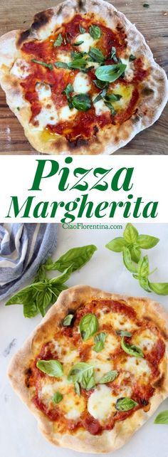 Easy Pizza Margherita Recipe VIDEO, with Mozzarella si Bufala, Basil and San Marzano Tomatoes! Thin Crust Authentic Recipe | CiaoFlorentina.com @CiaoFlorentina