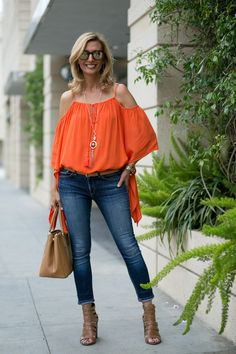 New blog story today featuring our Tangerine Cold Shoulder Top and Matt Gold necklace - BOTH PART OF OUR 24-HR FLASH SALE GET 15% OFF WITH CODE FS517 ON BOTH PLUS FREE SHIPPING www.jacketsociety.com