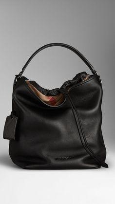 101ac5a3c7ff Medium Canvas Check Leather Hobo Bag Burberry Tote