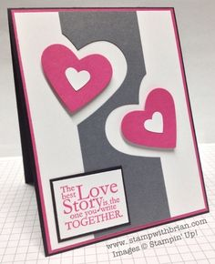 handmade Valentine ... graphic look ... white, deep gray, and light magenta ... center column of gray cut out at sides to fit in a couple layered hearts ... Stampin' Up!