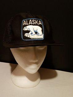 ALASKA Vintage Trucker Hat Mesh Snapback Cap Polar Bear patch state hat  black  fashion   550258690c76