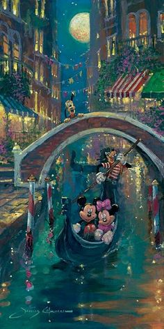 Disney Fine Art Gallery Wrapped Giclee - Moonlight In Venice by James Coleman featuring Minnie & Mickey Mouse Disney Dream, Cute Disney, Disney Magic, Images Disney, Disney Pictures, Mickey Mouse And Friends, Disney Mickey Mouse, Disney Animation, Disney Movies