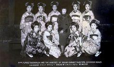 "vintage 1920's postcard.   ""Mme. Fumiko Takeayashi and the dancers of Grand Cabaret Marutama, Dotonbori Osaka"""