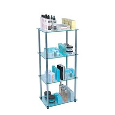 """Glass shelf 4-tier tower-4 Tier tower 17-3/4"""" W x 11-7/8"""" D x 38-3/4"""" H, tempered safty glass, stainless steel connectors, easy to take apart and reassemble, no tools required"""