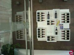 #Portabottiglie di #design Esigo 5, la libreria del vino, versione total white_#arredamento #ristorante --- Design #winerack Esigo 5, the #wine bookcase, total #white version_ #restaurant  #furniture