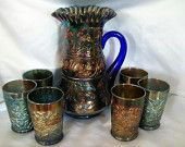 1910 Fenton Lily of the Valley Tankard / 6 Tumblers Carnival on Cobalt Glass