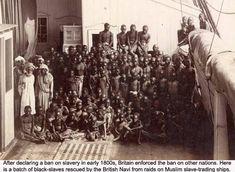 Group of African slaves rescued from Muslim slave-trading ships by the British Navy. Description from examiner.com. I searched for this on bing.com/images
