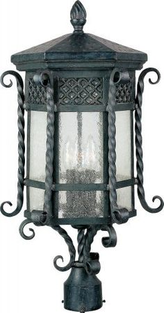 Maxim Lighting 30120CDCF 3 Light Scottsdale Post Mount Light by Maxim Lighting. $289.99. From the Manufacturer                Glass:Seedy, Finish: Country Forge, Light Bulb:(3)60w B10 Cand F Incand Scottsdale Post Light.                                    Product Description                Maxim 30120CDCF Scottsdale 3-Light Outdoor Pole/Post Lantern Scottsdale is a traditional, Mediterranean style collection from Maxim Lighting International in Country Forge finish wi...
