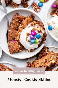 This Grain Free Monster Skillet Cookie is filled with all the best things like old fashioned oats, peanut butter, and chocolate candies. It's completely grain and gluten free, so easy to make, and can be customized with all your favorite mix-ins! Healthy Dessert Recipes, Healthy Treats, Easy Desserts, Delicious Desserts, Chocolate Shavings, Dark Chocolate Chips, Homemade Breakfast, Vegetarian Chocolate, Something Sweet