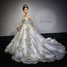 Follow me Misha verma♥ Barbie Bridal, Barbie Wedding Dress, Wedding Doll, Barbie Gowns, Barbie Dress, Barbie Clothes, Wedding Gowns, Pretty White Dresses, Diva Dolls