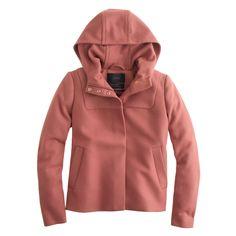 J.Crew women's Melton hooded bib jacket; it is feminine.