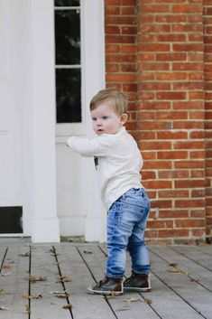 Check out this blog post for tips on dressing your little man for fall. Fall toddler boy clothes and fashion tips in one! #fallfashion #toddlerboy #boysclothes Toddler Boy Fashion, Toddler Girl Style, Toddler Boy Outfits, Toddler Boys, Kids Fashion, Slip On Tennis Shoes, Grey Joggers, Navy And Green, Blue Adidas