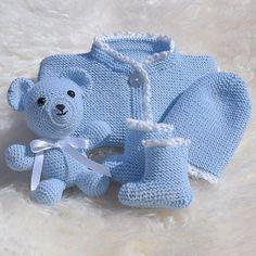 av_unnita:: Hentesett med bamse til minsten #strikking #hekling #hentesett #babymerinodrops #kosedyr #amigurumi #håndlaget #finthåndlaget