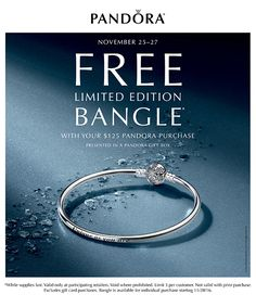 It wouldn't be Black Friday without a sale! Visit Atlanta West Jewelry to receive a FREE bangle with your $125 #Pandora purchase.