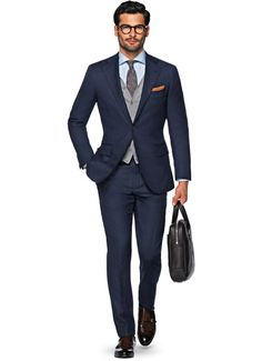 Blue plain business suit - suitsupply fw15