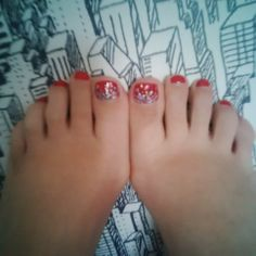 Pillarbox red toes with chunky silver glitter
