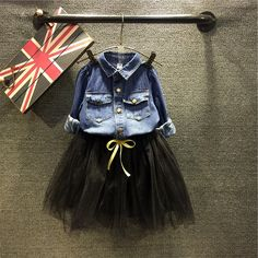 $19.78 (Buy here: https://alitems.com/g/1e8d114494ebda23ff8b16525dc3e8/?i=5&ulp=https%3A%2F%2Fwww.aliexpress.com%2Fitem%2F2016-New-Autumn-Girls-Jeans-Coat-Lace-Skirt-Children-Two-piece-Set-Baby-Fashion-Set-Toddler%2F32724136595.html ) 2016 New Autumn Girls Jeans Coat Lace Skirt Children Two-piece Set Baby Fashion Set Toddler Set Cotton Kids Denim Coat,2-7Y for just $19.78