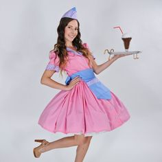Retro Car Hop Waitress Outfit Dress Apron Hat Pink Blue Pinup Pin Up Rockabilly Halloween Costume Custom Made Including Plus Size Pin Up Dresses, Super Cute Dresses, Plus Size Dresses, Dresses For Sale, Blue Dresses, Retro Costume, Costume Shop, Grease Fancy Dress, Waitress Outfit