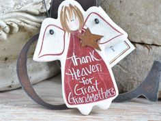 Great Grandmother Birthday Gift Angel Mother's Day Gift Salt Dough Ornament