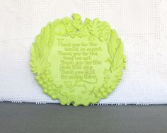Lime Green Thank You Lord Plaque Vintage Syroco Resin by BeautiSHE, $9.00