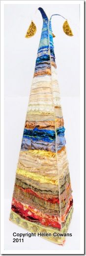 Helen Cowans Coastal Tower inspired by Bamburgh Beach.  Silks, hand and machine stitch and beading.  The second tower I've displayed at FoQ.