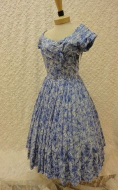 50s Dress / Vintage 1950s Light Blue Floral Cotton Dress with Very Full Skirt Size M. $195.00, via Etsy.