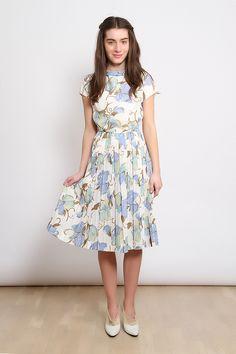 80′ler Desenli vintage Elbise | AU Vintage