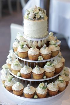 I like the idea of having one small wedding cake and then a lot of cupcakes for people to grab