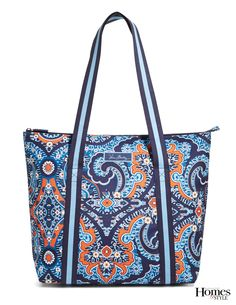 "Be sure to pack some cool beverages! The roomy Cooler Tote from Vera Bradley features a food-grade safe, easy-wipe lining and the padded construction will keep contents cool for hours. The front pocket is perfect for napkins and utensils. 19.25"" x 14.75"" x 6.75"" with 11"" straps. Shown in Marrakesh pattern, $60. verabradley.com"