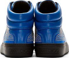 Jimmy Choo: Blue Studded Belgravi High-Top Sneakers
