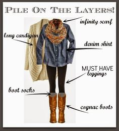 PILE ON THE LAYERS when wearing leggings! This is a great combo for a perfect leggings outfit!