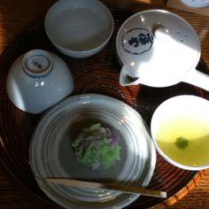 京都一保堂 嘉木 煎茶の新茶 と 紫陽花きんとん