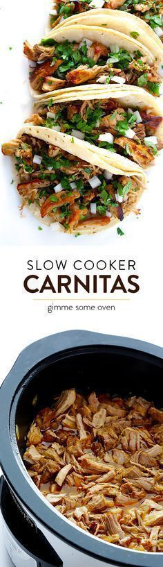 Crispy Slow Cooker Carnitas -- This favorite Mexican pork recipe is surprisingly easy to make in the crock pot, and it's perfectly tender, juicy, crispy, and SO delicious! Perfect for tacos, burritos, salads and more. | http://gimmesomeoven.com