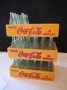 3 Vintage Miniature Coca Cola Case Crate 55 Clear Plastic Bottle Yellow Red Logo #CocaCola