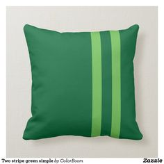 Two stripe green simple throw pillow Green Cushions, Party Hats, Custom Pillows, Emerald Green, Throw Pillows, Make It Yourself, Dark, Simple, Fabric