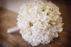 Beautiful!!! white gardenia bridal bouquet #wedding