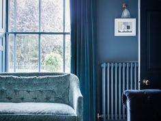 Light Blue Couch in Blue Dorset House by Mark Lewis, Photo by Rory Gardiner