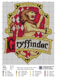 The World In Stitches — Gryffindor House Crest cross stitch chart, the...