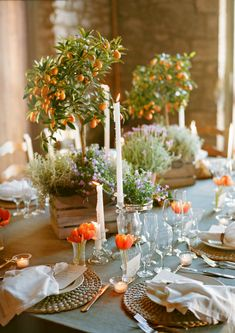rustic tablescape- herbs in wood boxes, individual tulips ( could use seasonal flowers in pink)