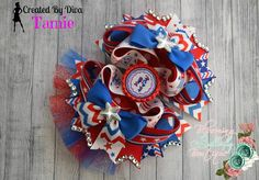Find this festive bow in The Bow Divas 4th of July Auction   https://www.facebook.com/media/set/?set=a.887324714640106.1073741883.664051576967422&type=1