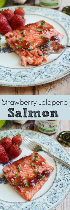 Strawberry Jalapeno Salmon - only 5 ingredients and ready in under 30 minutes! This delicious, healthy meal is going to become a regular in your house! Best Seafood Recipes, Salmon Recipes, Fish Recipes, Seafood Dinner, Fish And Seafood, Seafood Meals, Cooking Recipes, Healthy Recipes, Healthy Eats