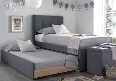 The Capri New Grey trundle guest bed is the perfect bed for sleepovers and combines contemporary styling with functionality. Simple slide out the under bed which is mounted on easy glide castors, to reveal a versatile trundle bed. Please note the main b Murphy Bunk Beds, Modern Murphy Beds, Murphy Bed Ikea, Boys Trundle Bed, Loft Bed Plans, Murphy Bed Plans, Small Room Bedroom, Kids Bedroom, Bedroom Decor