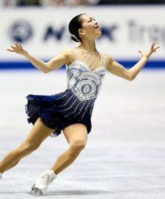 Akiko Suzuki of Japan freeskate 2013/2014, Grey/Blue Figure Skating / Ice Skating dress inspiration for Sk8 Gr8 Designs.