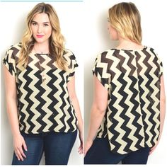 "Tan & Black Zigzag Plus Size Its sheer, very cute on and comfy. Also has 4 buttons on the shoulder. Please feel free to ask any questions you may have. Happy poshing!!  Measurement Armpit to Armpit Size 3XL Bust: 24"" Length: 26"" Tops Tees - Short Sleeve"