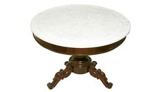 A charming circular walnut table on a pedestal base with splat legs and white grooved marble top.                                                                                                                                                                                                                                                                       C.1870 Victorian.
