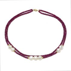 "Amazon.com: 14k Yellow Gold 9-10mm Freshwater Cultured Pearl, 2-rows 3-4mm Red Ruby Necklace, 18"": Strand Necklaces: Clothing"