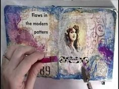 Mixed Media Art Journal with Cristina Zinnia Galliher ~*~Roses On My Tab. love the use of threads in this piece Artist Journal, Art Journal Pages, Art Journals, Mixed Media Tutorials, Art Tutorials, Mixed Media Journal, Mixed Media Art, Altered Books, Altered Art