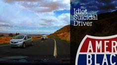Car Crash Avoided - Idiot Suicidal Driver Toward Monument Valley Utah