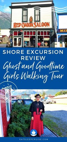 Ghost and Goodtime Girls Walking Tour in Skagway | EatSleepCruise.com. Are you looking for a good time in Skagway, Alaska? If you are open to a cruise excursion that is a bit different, check out the Red Onion Saloon's Ghost and Goodtime Girls walking tour of this historic town. There are many things to do in Skagway when visiting on an Alaska cruises. This excursions is an interactive tour taking you back to the Gold Rush of 1898! #Alaska #AlaskaCruise #Skagway #thingstodo #eatsleepcruise Packing List For Cruise, Cruise Tips, Cruise Travel, Cruise Vacation, Vacations, Best Alaskan Cruise, Best Cruise, Cruise Excursions, Cruise Destinations