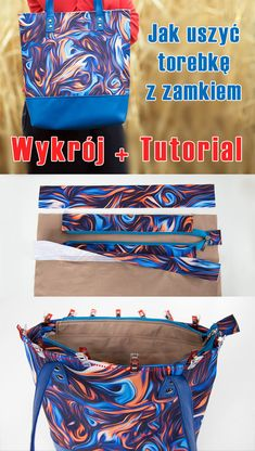 Jak uszyć torebkę z zamkiem i podszewką. DARMOWY wykrój na torebkę oraz ins. How to sew a purse with a zipper and a lining. FREE pattern for the bag and step-by-step instructions for sewing the bag. Handmade Crafts, Diy And Crafts, Sewing Basics, Learn To Sew, Couture, Purses And Bags, Free Pattern, Sewing Projects, Leather Handle